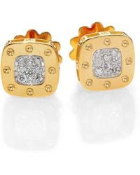 Roberto Coin - Pois Moi Diamond & 18k Yellow Gold Square Earrings - Lyst
