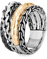 John Hardy - Sterling Silver & 18k Yellow Gold Classic Chain Crossover Ring - Lyst