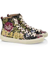 Gucci Major Rose-print High-top Sneakers - Black