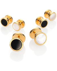 David Donahue - Gold-plated Silver, Onyx & Mother Of Pearl Reversible Stud Set - Lyst