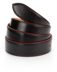 Corthay Red Trim Black Leather Belt