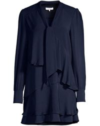 Parker Kenji Tiered Ruffle Shift Shirtdress - Blue