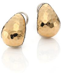 John Hardy Classic Chain Hammered 18k Yellow Gold & Sterling Silver Stud Earrings - Metallic