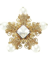 Kenneth Jay Lane - Antique Goldplated, Faux Pearl & Crystal Filigree Flower Pin - Lyst