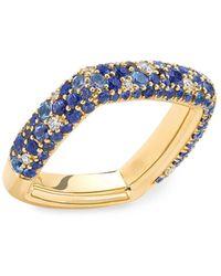 Robinson Pelham Zone 18k Yellow Gold, Blue Sapphire & Diamond Ring - Metallic