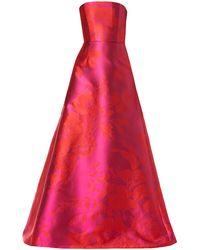 Carolina Herrera Strapless Floral Satin A-line Gown - Pink
