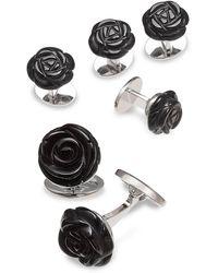 Jan Leslie Sterling Silver & Onyx Carved Rose Cufflinks & Four Tuxedo Studs - Metallic