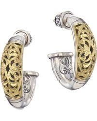 Konstantino - Sterling Silver & 18k Yellow Gold Hoop Post Earrings - Lyst