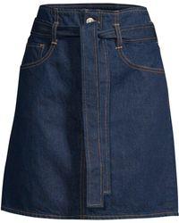 3x1 Kelly Belted Denim Mini Skirt - Blue