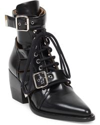 Chloé - Black Reilly 60 Buckle Embellished Ankle Boots - Lyst