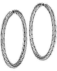 John Hardy Chain Silver Hoop Earrings, Medium - Metallic