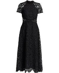 ML Monique Lhuillier Lace Short-sleeve A-line Midi Dress - Black
