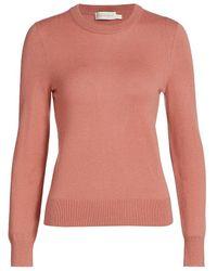 Zimmermann Wild Botanica Crewneck Cashmere Sweater - Pink