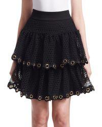 Maje - James Tiered Lace Mini Skirt - Lyst