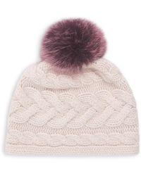 8de785ce9 Lyst - Portolano Cashmere Ribbed Hat With Fox Pom in Blue