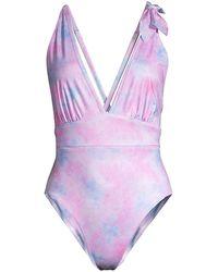 LoveShackFancy Millicent Tie-dye Plunge One-piece Swimsuit - Purple