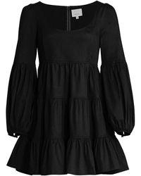Cinq À Sept Rose Tiered Ruffle Mini Dress - Black