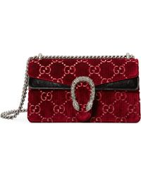 a7ee8aae411 Gucci - Women s Small Dionysus GG Velvet Shoulder Bag - Blue - Lyst