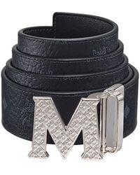 MCM Claus Reversible Logo Engraved Belt - Black