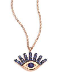 Kismet by Milka - Evil Eye Blue Sapphire & 14k Rose Gold Pendant Necklace - Lyst