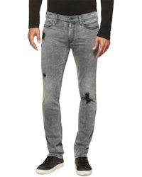 PAIGE - Lennox Distressed Skinny Jeans - Lyst