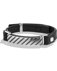David Yurman - Modern Cable Id Leather Bracelet - Lyst