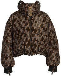 Fendi Allover Logo Reversible Cropped Puffer - Brown