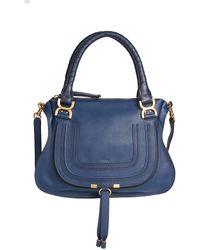 Chloé Medium Marcie Leather Satchel - Blue