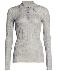 Prada Rib-knit Silk & Cashmere Collared Top - Gray
