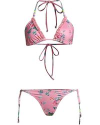 LoveShackFancy Harbor 2-piece Floral Bikini Set - Pink