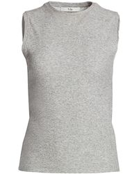 Tibi Dry Loop Terry Fitted Tank Top - Gray