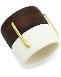 Carolina Herrera Mixed-media Double Cuff Bracelet - Metallic