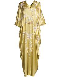 Natori - Dragonfly & Floral Sequin Puff-sleeve Silk Caftan - Lyst