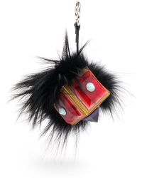 Fendi - Women's Fox Fur & Leather Prism Bag Bug - Black Multi - Lyst
