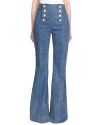 Balmain - High Waisted Bell Bottom Jeans - Lyst