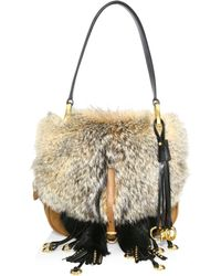 Prada - Pattina Fox Fur & Leather Shoulder Bag - Lyst