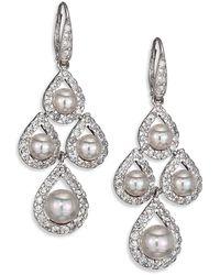 Majorica 6mm-8mm Round Pearl & Sterling Silver Pav Teardrop Chandelier Earrings - White