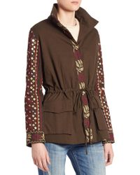Love Sam Cargo Embroidered Military Jacket - Blue