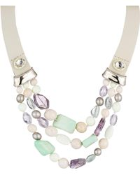 Alexis Bittar - Elements Swarovski Crystal, Chrysoprase, Amethyst, River Stone & Leather Enamel Stone Beaded Bib - Lyst
