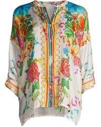 Johnny Was Sabrina Floral Silk Tunic Blouse - Multicolor