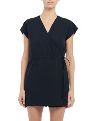 Theory Wrap Romper - Blue