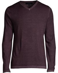Patrick Assaraf Regular-fit Magic Wash Wool V-neck Sweater - Purple