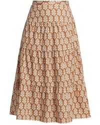 RHODE Laine Tiered Cotton Skirt - Natural