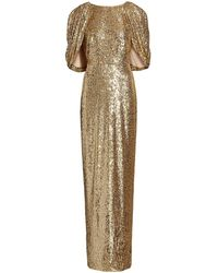 Pamella Roland Sequin-embellished Cape Gown - Metallic