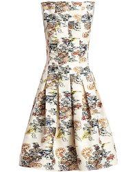 Oscar de la Renta Floral-print Seam Box Pleat A-line Dress - White