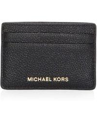 MICHAEL Michael Kors - Leather Logo Card Holder - Lyst
