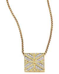 John Hardy Modern Chain Diamond & 18k Yellow Gold Pendant Necklace - Metallic