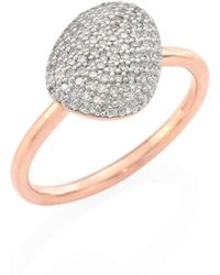 Monica Vinader - Nura Small Diamond Pebble Stacking Ring - Lyst