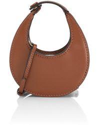 STAUD Micro Moon Leather Hobo Bag - Brown