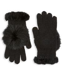 Glamourpuss Rabbit Fur & Fox Fur-trimmed Knit Gloves - Black
